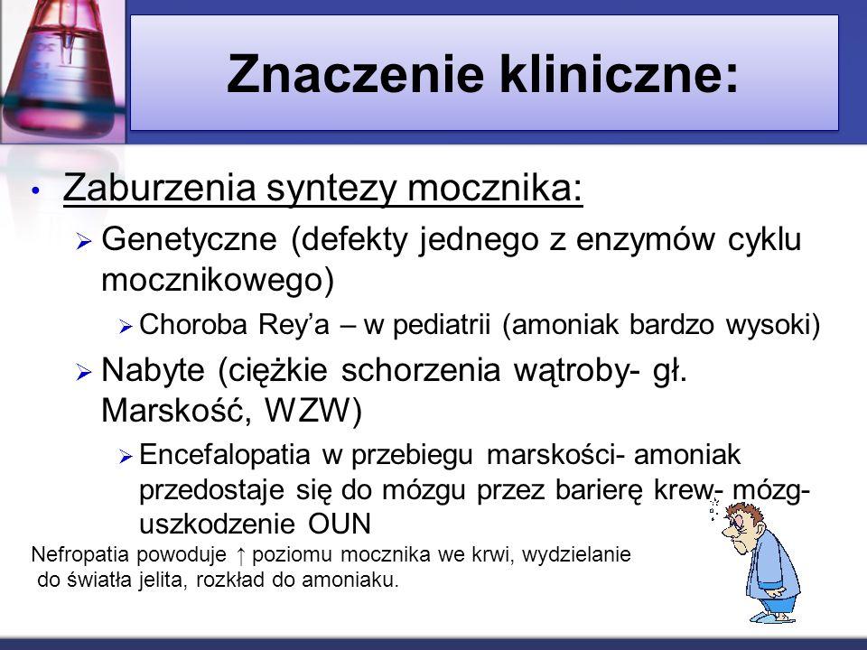 Znaczenie kliniczne: Zaburzenia syntezy mocznika: Genetyczne (defekty jednego z enzymów cyklu mocznikowego) Choroba Reya – w pediatrii (amoniak bardzo