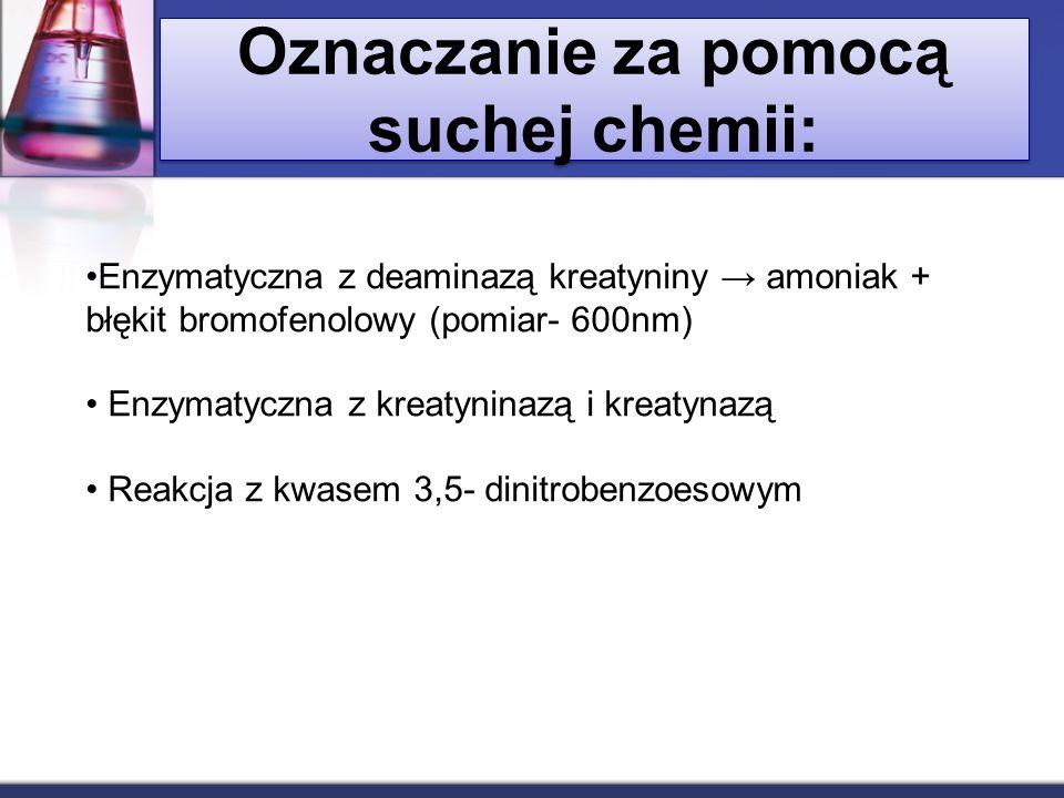 Oznaczanie za pomocą suchej chemii: Enzymatyczna z deaminazą kreatyniny amoniak + błękit bromofenolowy (pomiar- 600nm) Enzymatyczna z kreatyninazą i k