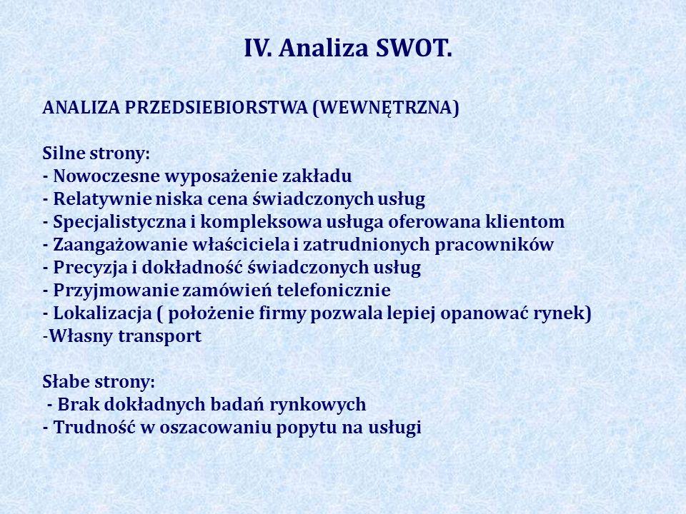 IV. Analiza SWOT. ANALIZA PRZEDSIEBIORSTWA (WEWNĘTRZNA) Silne strony: - Nowoczesne wyposażenie zakładu - Relatywnie niska cena świadczonych usług - Sp