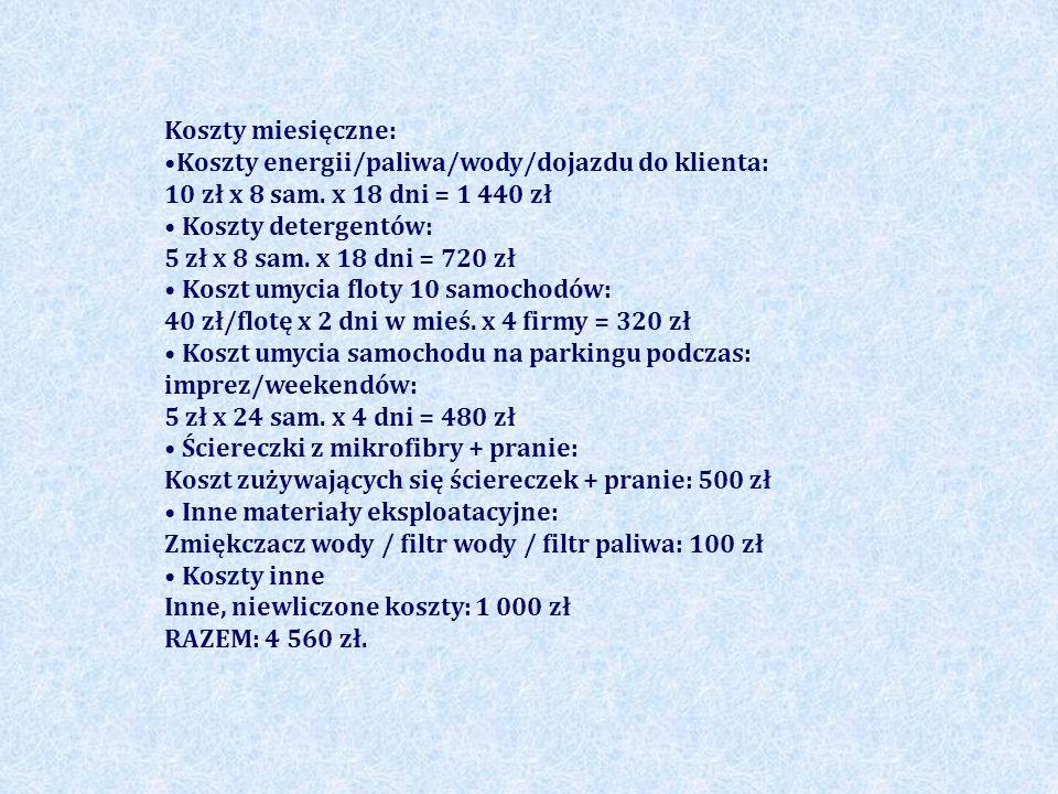 Koszty miesięczne: Koszty energii/paliwa/wody/dojazdu do klienta: 10 zł x 8 sam. x 18 dni = 1 440 zł Koszty detergentów: 5 zł x 8 sam. x 18 dni = 720