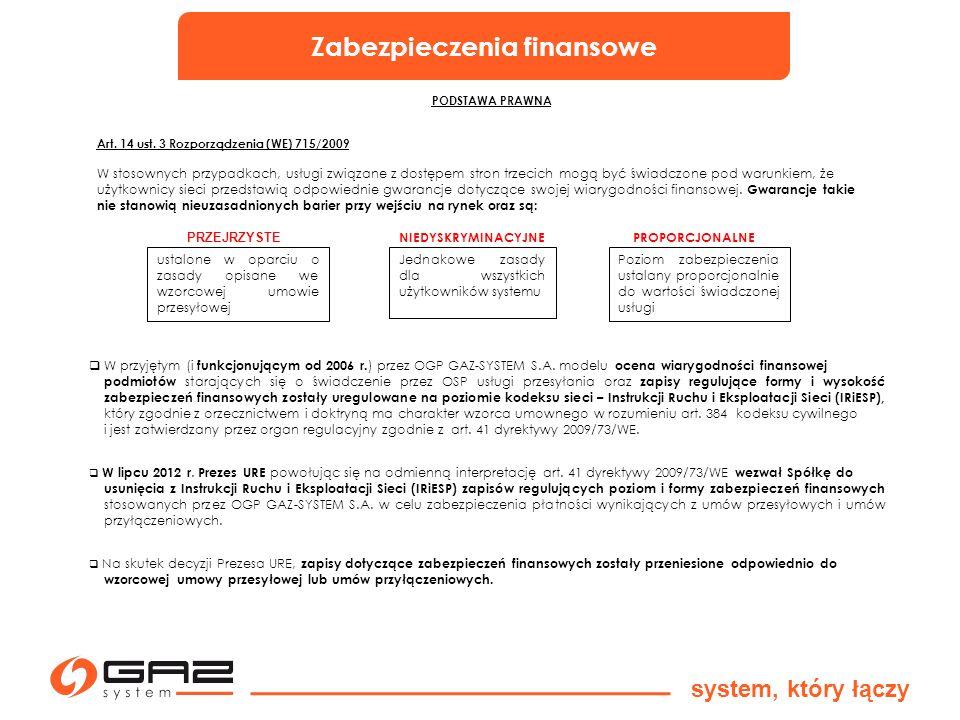 Zabezpieczenia finansowe system, który łączy PODSTAWA PRAWNA Art. 14 ust. 3 Rozporządzenia (WE) 715/2009 W stosownych przypadkach, usługi związane z d