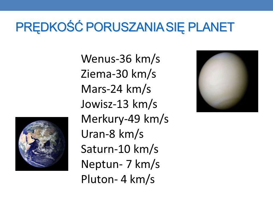 PRĘDKOŚĆ PORUSZANIA SIĘ PLANET Wenus-36 km/s Ziema-30 km/s Mars-24 km/s Jowisz-13 km/s Merkury-49 km/s Uran-8 km/s Saturn-10 km/s Neptun- 7 km/s Pluton- 4 km/s