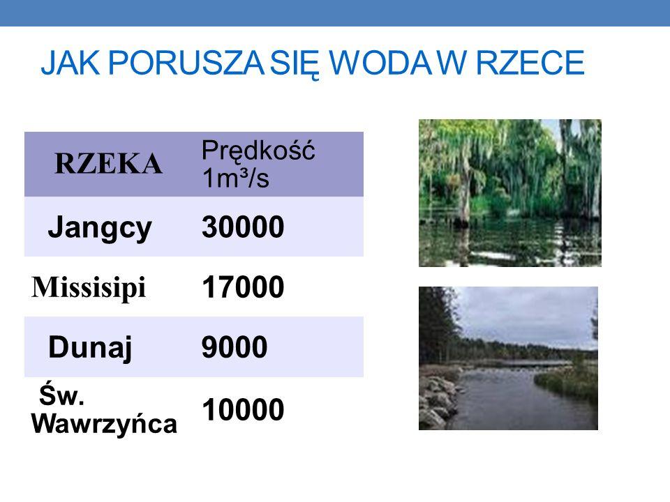 JAK PORUSZA SIĘ WODA W RZECE RZEKA Prędkość 1m³/s Jangcy30000 Missisipi 17000 Dunaj9000 Św.