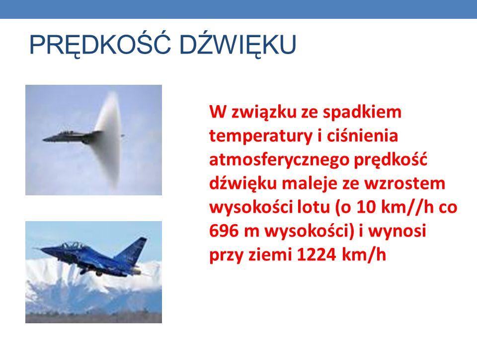 PRĘDKOŚĆ DŹWIĘKU W związku ze spadkiem temperatury i ciśnienia atmosferycznego prędkość dźwięku maleje ze wzrostem wysokości lotu (o 10 km//h co 696 m wysokości) i wynosi przy ziemi 1224 km/h