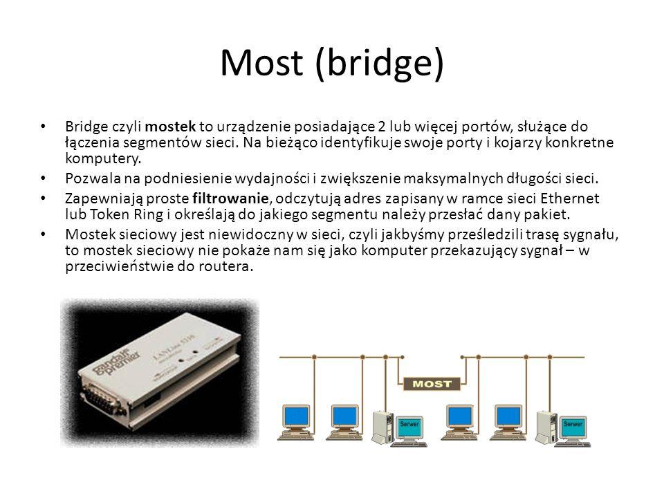 Most (bridge) Bridge czyli mostek to urządzenie posiadające 2 lub więcej portów, służące do łączenia segmentów sieci. Na bieżąco identyfikuje swoje po