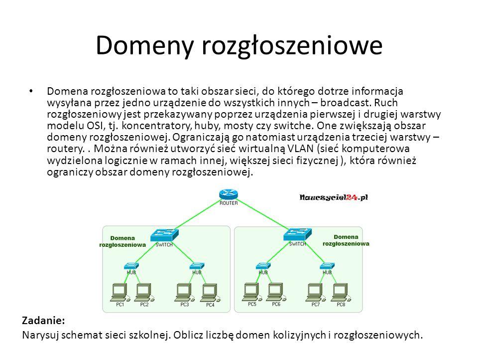 Domeny rozgłoszeniowe Domena rozgłoszeniowa to taki obszar sieci, do którego dotrze informacja wysyłana przez jedno urządzenie do wszystkich innych –