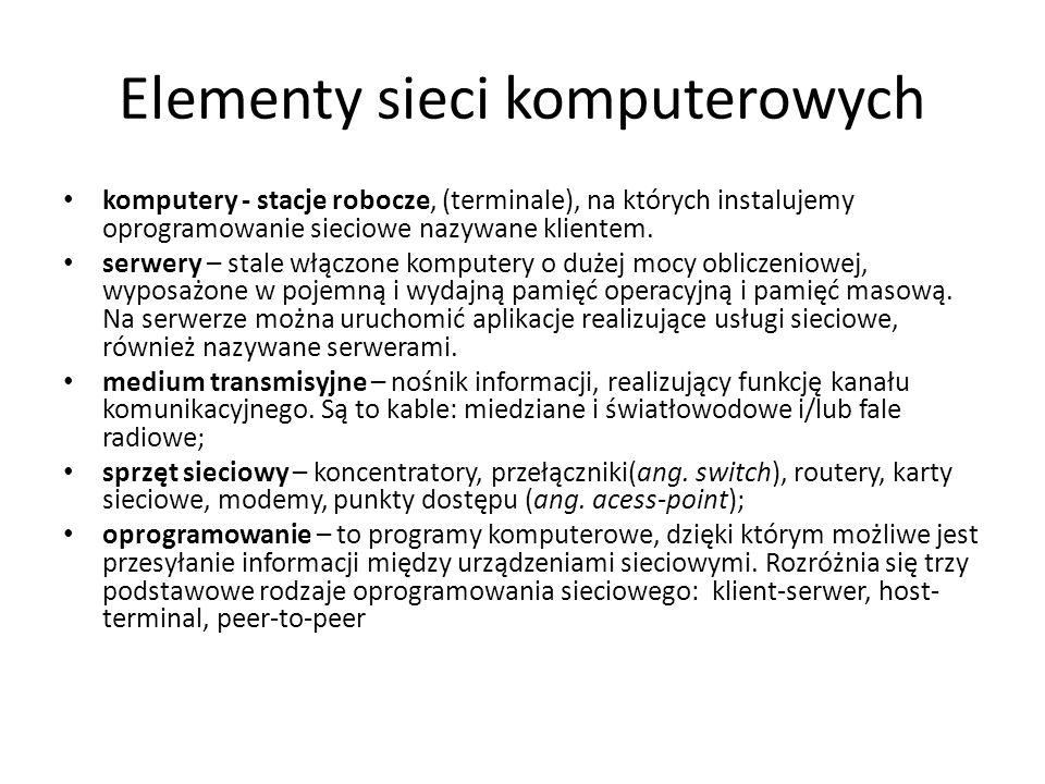 Topologie sieci Topologia fizyczna sieci - sposób okablowania sieci, fizyczny układ połączeń między urządzeniami w sieci (węzłami).