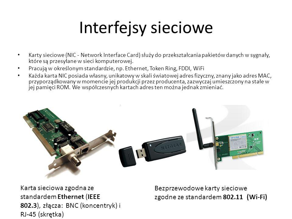 Interfejsy sieciowe Karty sieciowe (NIC - Network Interface Card) służy do przekształcania pakietów danych w sygnały, które są przesyłane w sieci komp