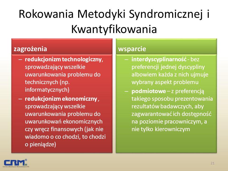 Rokowania Metodyki Syndromicznej i Kwantyfikowania zagrożenia – redukcjonizm technologiczny, sprowadzający wszelkie uwarunkowania problemu do technicz