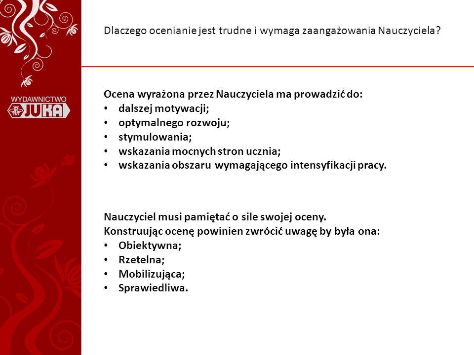 Stróżyński K., Giermakowski M., Jak oceniać?, Wydawnictwo Nauczycielskie, Jelenie Góra, 1998 Cichy D., Cywińska E.B., Frindt M., Janicka-Panek T., Małkowska-Zegadło H., Zielkowska L., Program nauczania zintegrowanego w klasach 1-3 szkoły podstawowej, JUKA, Warszawa, 1999 Sterna D., Ocenianie kształtujące w praktyce, Civitas, Warszawa, 2008 Niemierko B., Ocenianie szkolne bez tajemnic, WSiP, Warszawa, 2004 Black P., Harrison C., Lee C., Marshall B., Wiliam D., Jak oceniać, aby uczyć?, Civitas, Warszawa, 2009 Wysocka I., Portfolio jako metoda wspierająca ocenianie wewnątrzszkolne, www.ptde.org/file.php/1/Archiwum/XVI_KDE/wysocka.pdfwww.ptde.org/file.php/1/Archiwum/XVI_KDE/wysocka.pdf (dostęp: 24.08.2011) Bibliografia: