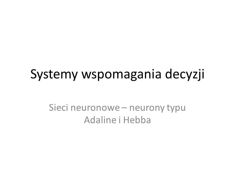 Systemy wspomagania decyzji Sieci neuronowe – neurony typu Adaline i Hebba
