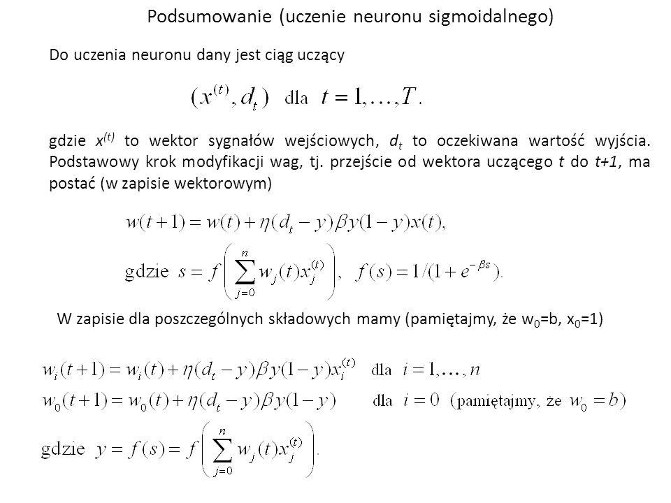 Do uczenia neuronu dany jest ciąg uczący gdzie x (t) to wektor sygnałów wejściowych, d t to oczekiwana wartość wyjścia. Podstawowy krok modyfikacji wa