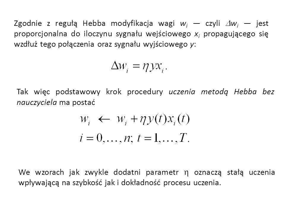 Zgodnie z regułą Hebba modyfikacja wagi w i czyli w i jest proporcjonalna do iloczynu sygnału wejściowego x i propagującego się wzdłuż tego połączenia