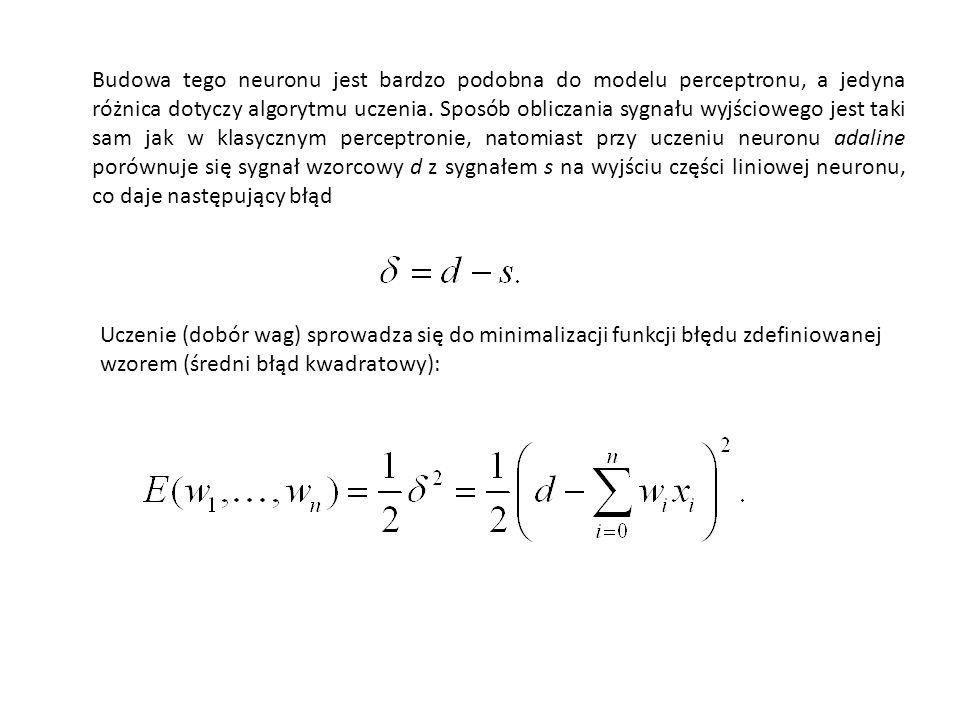 Wyrażenie na s możemy zapisać w sposób bardziej zwarty wprowadzając rozszerzony wektor wag tak, aby zawierał próg b (czasami oznaczany też literką theta, oraz rozszerzony wektor wejściowy zawierający dodatkowo jeden impuls x 0 =1: Wtedy