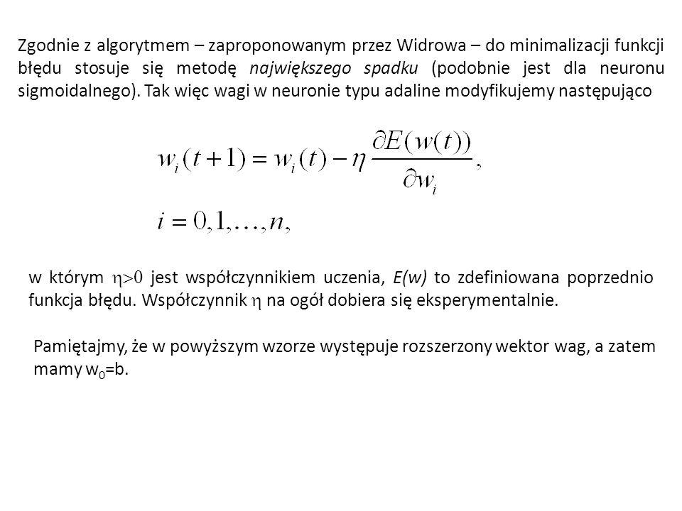 Miarę błędu E(w) definiujemy jako kwadrat różnicy wartości wzorcowej i wartości otrzymanej na wyjściu przy aktualnych wagach Do uczenia używa się reguły największego spadku.