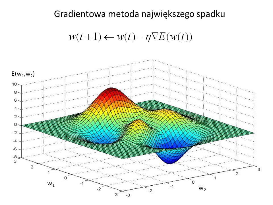 Rozpisując wzór na modyfikacje wag na poszczególne składowe otrzymujemy w którym jest współczynnikiem uczenia, E(w) to zdefiniowana poprzednio funkcja błędu.