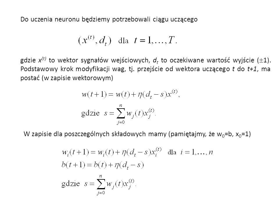 Otrzymujemy następujące dwa wektory ciągu uczącego: Jako funkcję aktywacji użyjemy funkcji typu signum współczynnik uczenia =0,2, a wagi początkowe zerowe (w 1 =w 2 =0).