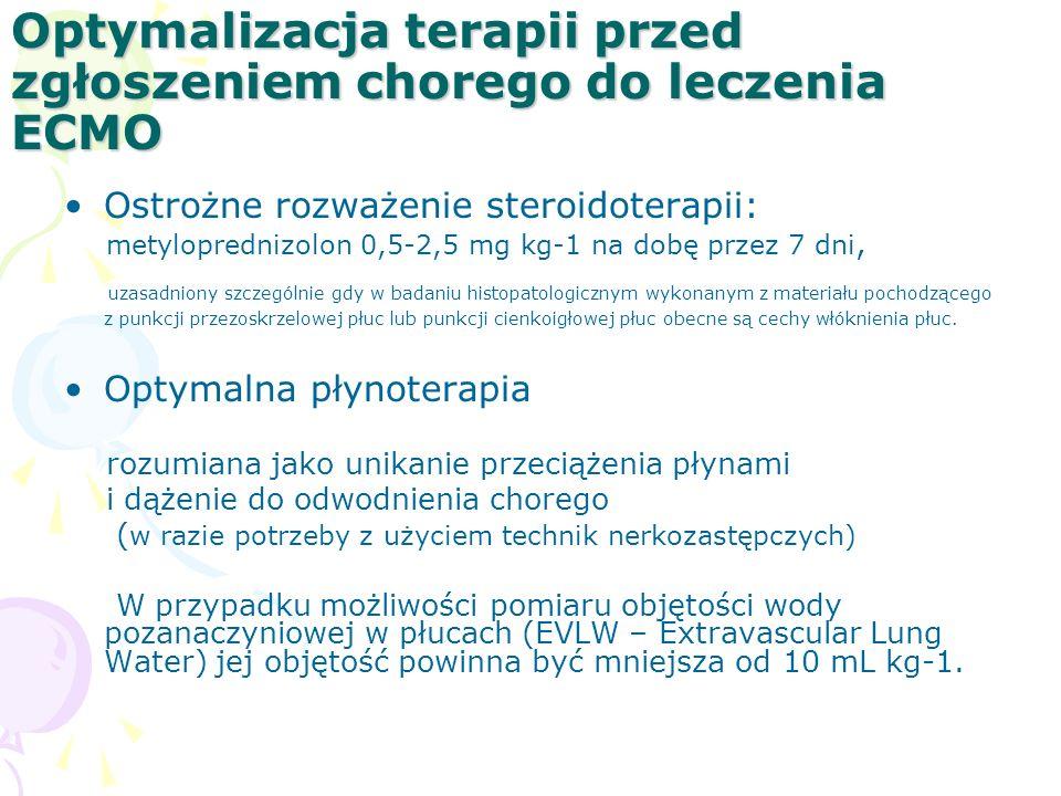 Optymalizacja terapii przed zgłoszeniem chorego do leczenia ECMO Ostrożne rozważenie steroidoterapii: metyloprednizolon 0,5-2,5 mg kg-1 na dobę przez 7 dni, uzasadniony szczególnie gdy w badaniu histopatologicznym wykonanym z materiału pochodzącego z punkcji przezoskrzelowej płuc lub punkcji cienkoigłowej płuc obecne są cechy włóknienia płuc.