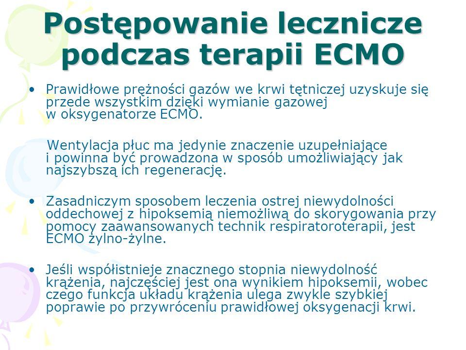 Postępowanie lecznicze podczas terapii ECMO Prawidłowe prężności gazów we krwi tętniczej uzyskuje się przede wszystkim dzięki wymianie gazowej w oksygenatorze ECMO.