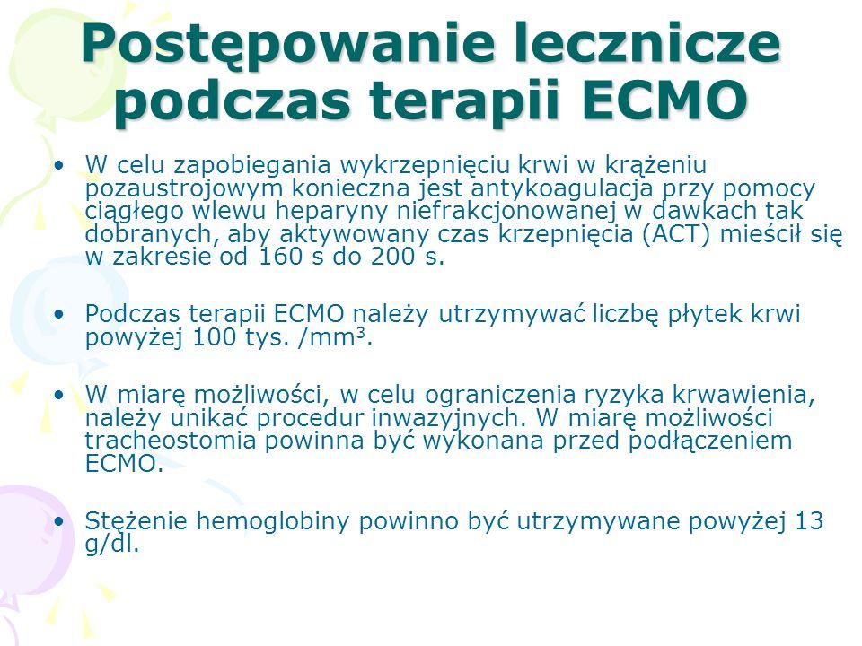 Postępowanie lecznicze podczas terapii ECMO W celu zapobiegania wykrzepnięciu krwi w krążeniu pozaustrojowym konieczna jest antykoagulacja przy pomocy ciągłego wlewu heparyny niefrakcjonowanej w dawkach tak dobranych, aby aktywowany czas krzepnięcia (ACT) mieścił się w zakresie od 160 s do 200 s.