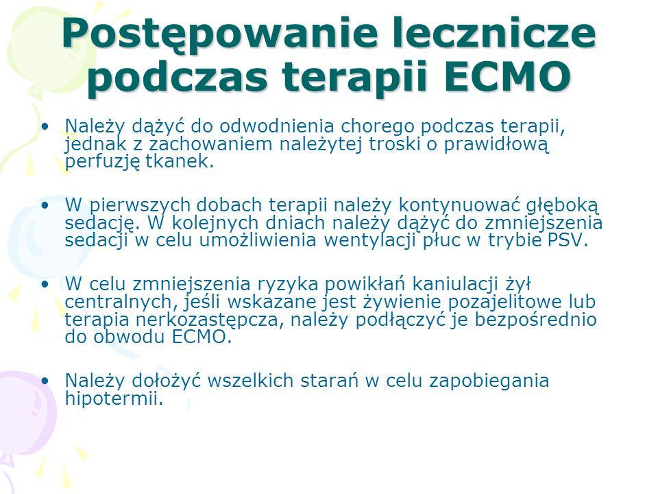Postępowanie lecznicze podczas terapii ECMO Należy dążyć do odwodnienia chorego podczas terapii, jednak z zachowaniem należytej troski o prawidłową perfuzję tkanek.