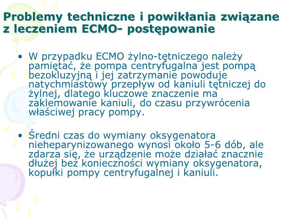 Problemy techniczne i powikłania związane z leczeniem ECMO- postępowanie W przypadku ECMO żylno-tętniczego należy pamiętać, że pompa centryfugalna jest pompą bezokluzyjną i jej zatrzymanie powoduje natychmiastowy przepływ od kaniuli tętniczej do żylnej, dlatego kluczowe znaczenie ma zaklemowanie kaniuli, do czasu przywrócenia właściwej pracy pompy.