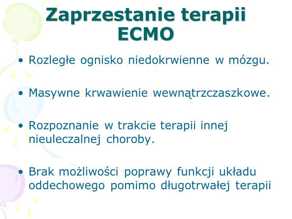 Zaprzestanie terapii ECMO Rozległe ognisko niedokrwienne w mózgu.