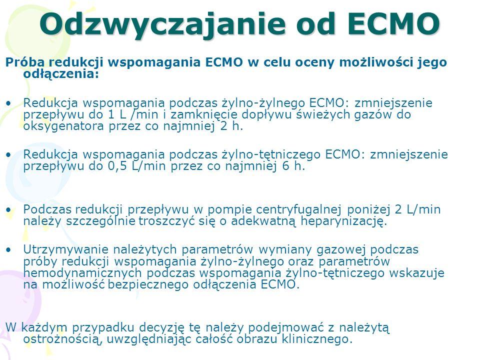 Odzwyczajanie od ECMO Próba redukcji wspomagania ECMO w celu oceny możliwości jego odłączenia: Redukcja wspomagania podczas żylno-żylnego ECMO: zmniejszenie przepływu do 1 L /min i zamknięcie dopływu świeżych gazów do oksygenatora przez co najmniej 2 h.