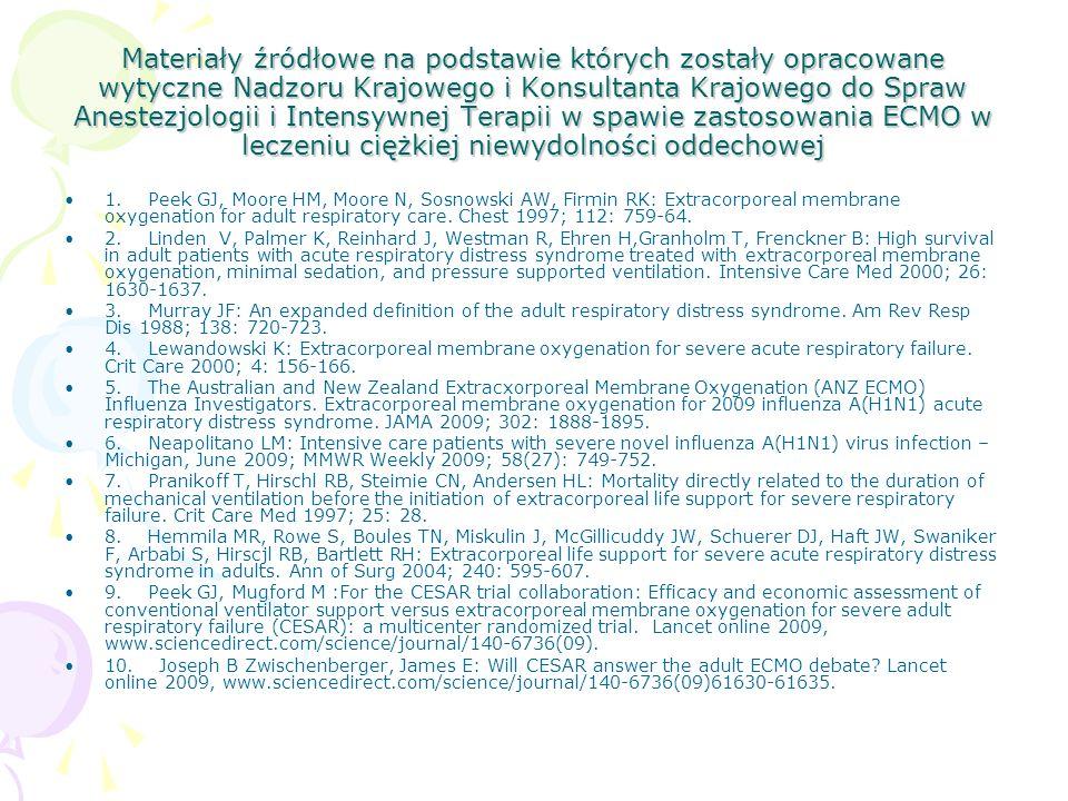 Materiały źródłowe na podstawie których zostały opracowane wytyczne Nadzoru Krajowego i Konsultanta Krajowego do Spraw Anestezjologii i Intensywnej Terapii w spawie zastosowania ECMO w leczeniu ciężkiej niewydolności oddechowej 1.