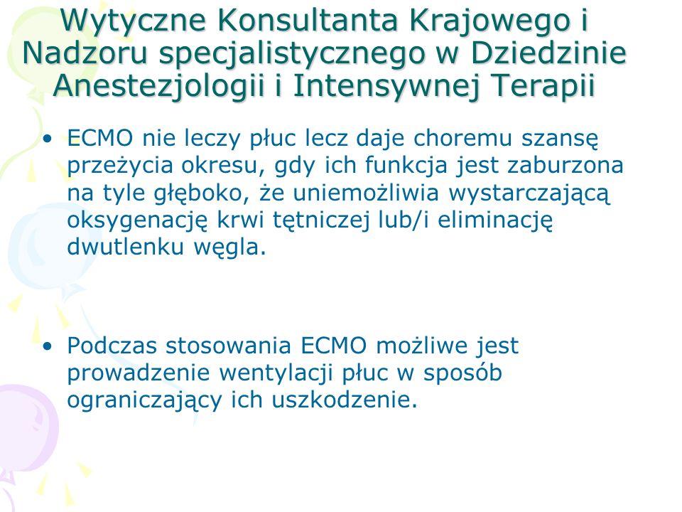 Wytyczne Konsultanta Krajowego i Nadzoru specjalistycznego w Dziedzinie Anestezjologii i Intensywnej Terapii ECMO nie leczy płuc lecz daje choremu szansę przeżycia okresu, gdy ich funkcja jest zaburzona na tyle głęboko, że uniemożliwia wystarczającą oksygenację krwi tętniczej lub/i eliminację dwutlenku węgla.