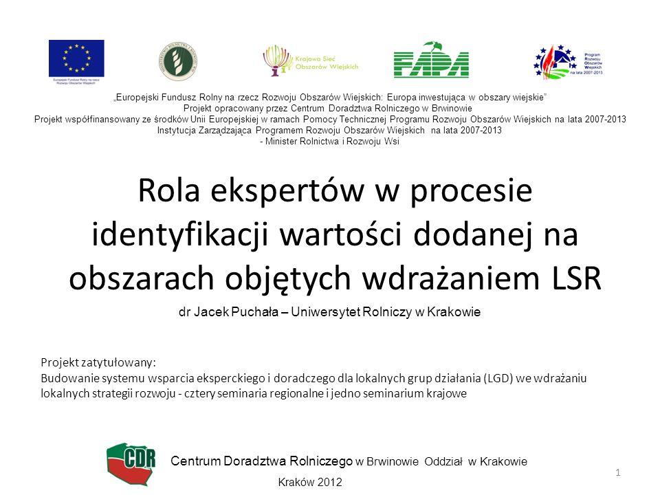 Rola ekspertów w procesie identyfikacji wartości dodanej na obszarach objętych wdrażaniem LSR dr Jacek Puchała – Uniwersytet Rolniczy w Krakowie Europ