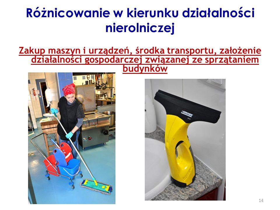 14 Różnicowanie w kierunku działalności nierolniczej Zakup maszyn i urządzeń, środka transportu, założenie działalności gospodarczej związanej ze sprzątaniem budynków