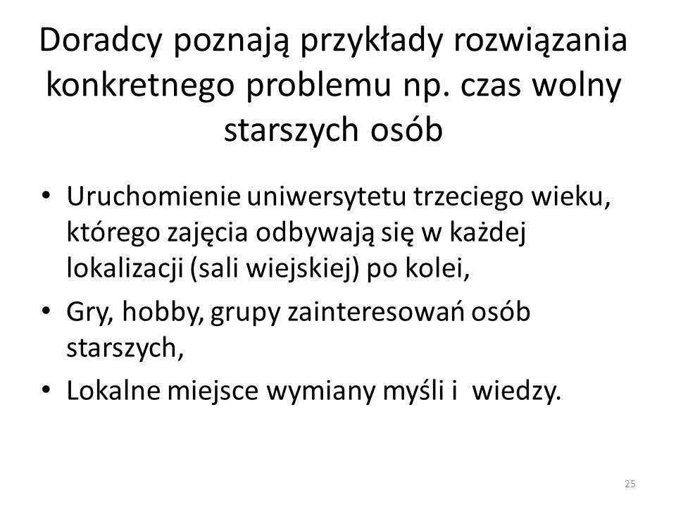 Doradcy poznają przykłady rozwiązania konkretnego problemu np.