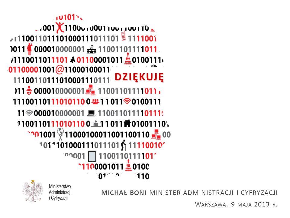 DZIĘKUJĘ DZIĘKUJĘ MICHAŁ BONI MINISTER ADMINISTRACJI I CYFRYZACJI W ARSZAWA, 9 MAJA 2013 R.