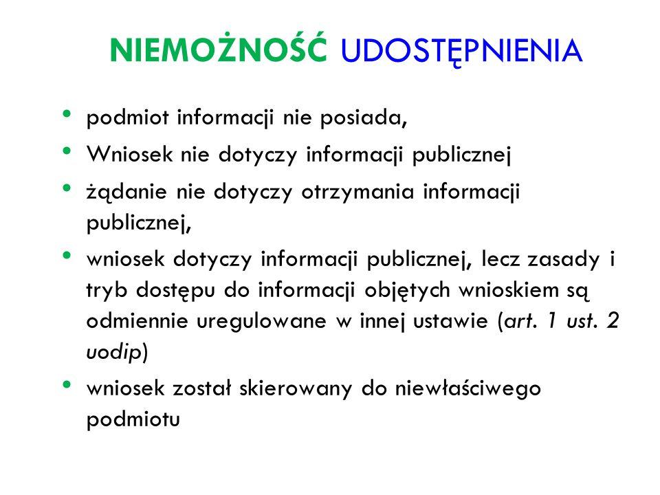 NIEMOŻNOŚĆ UDOSTĘPNIENIA podmiot informacji nie posiada, Wniosek nie dotyczy informacji publicznej żądanie nie dotyczy otrzymania informacji publiczne