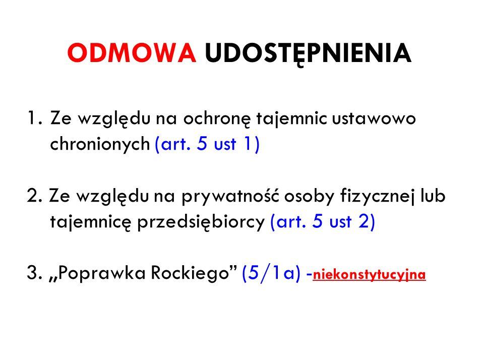ODMOWA UDOSTĘPNIENIA 1.Ze względu na ochronę tajemnic ustawowo chronionych (art. 5 ust 1) 2. Ze względu na prywatność osoby fizycznej lub tajemnicę pr