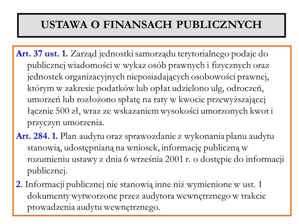 Art. 37 ust. 1. Zarząd jednostki samorządu terytorialnego podaje do publicznej wiadomości w wykaz osób prawnych i fizycznych oraz jednostek organizacy