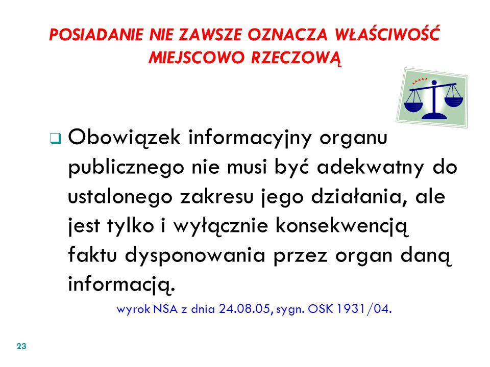 POSIADANIE NIE ZAWSZE OZNACZA WŁAŚCIWOŚĆ MIEJSCOWO RZECZOWĄ Obowiązek informacyjny organu publicznego nie musi być adekwatny do ustalonego zakresu jeg