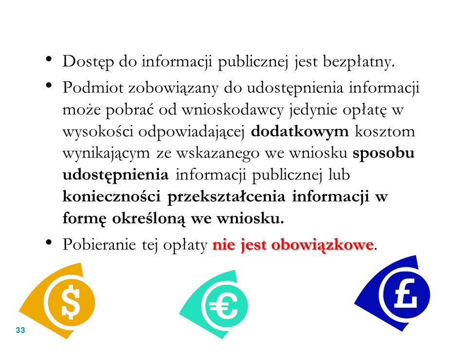 33 Dostęp do informacji publicznej jest bezpłatny. Podmiot zobowiązany do udostępnienia informacji może pobrać od wnioskodawcy jedynie opłatę w wysoko