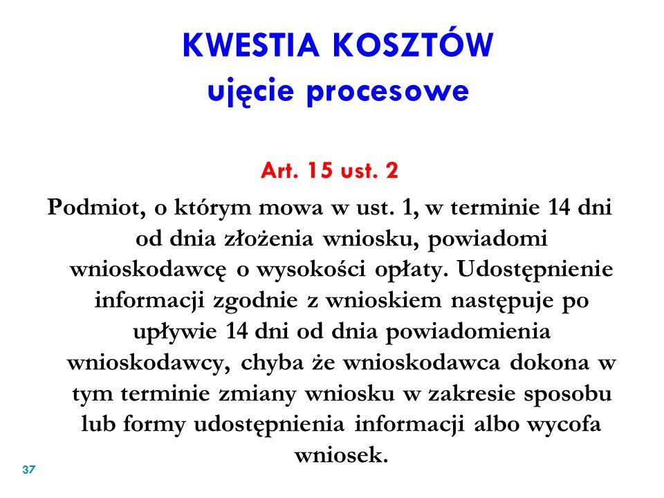 KWESTIA KOSZTÓW ujęcie procesowe Art. 15 ust. 2 Podmiot, o którym mowa w ust. 1, w terminie 14 dni od dnia złożenia wniosku, powiadomi wnioskodawcę o