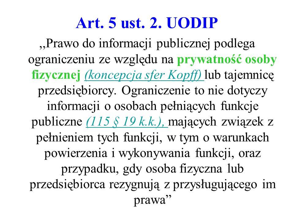 Art. 5 ust. 2. UODIP,,Prawo do informacji publicznej podlega ograniczeniu ze względu na prywatność osoby fizycznej (koncepcja sfer Kopff) lub tajemnic