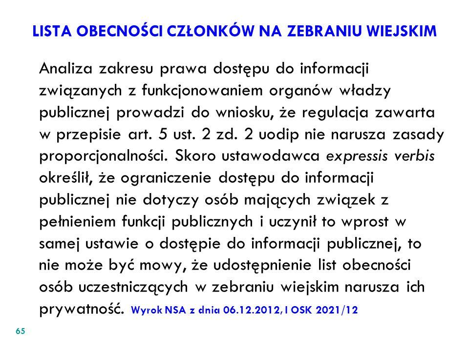 LISTA OBECNOŚCI CZŁONKÓW NA ZEBRANIU WIEJSKIM Analiza zakresu prawa dostępu do informacji związanych z funkcjonowaniem organów władzy publicznej prowa