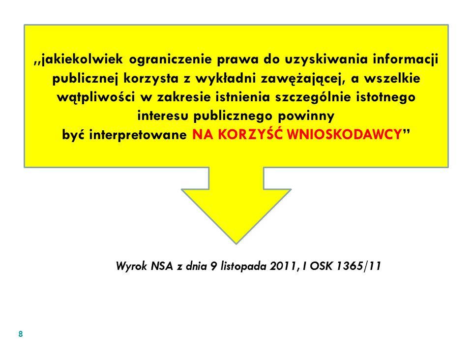 8,,jakiekolwiek ograniczenie prawa do uzyskiwania informacji publicznej korzysta z wykładni zawężającej, a wszelkie wątpliwości w zakresie istnienia s