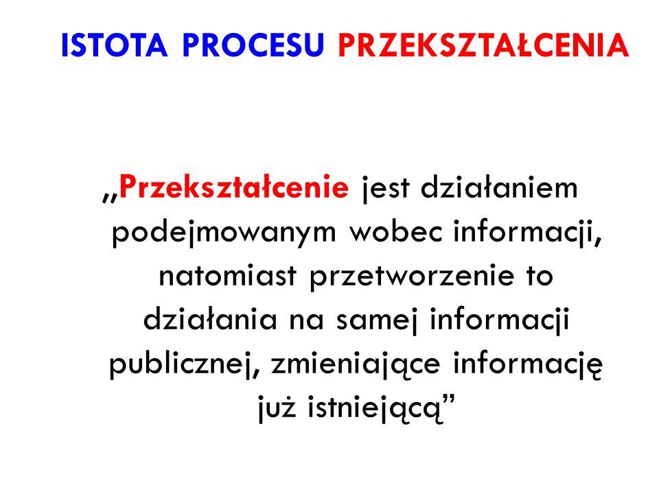 ISTOTA PROCESU PRZEKSZTAŁCENIA,,Przekształcenie jest działaniem podejmowanym wobec informacji, natomiast przetworzenie to działania na samej informacj