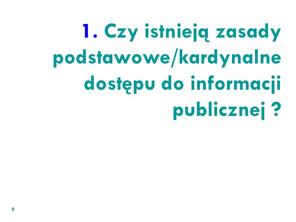 1. Czy istnieją zasady podstawowe/kardynalne dostępu do informacji publicznej ? 9