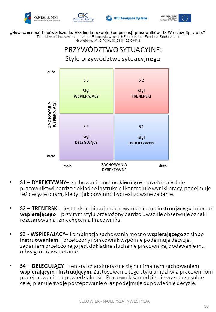 PRZYWÓDZTWO SYTUACYJNE: Style przywództwa sytuacyjnego S1 – DYREKTYWNY– zachowanie mocno kierujące - przełożony daje pracownikowi bardzo dokładne inst