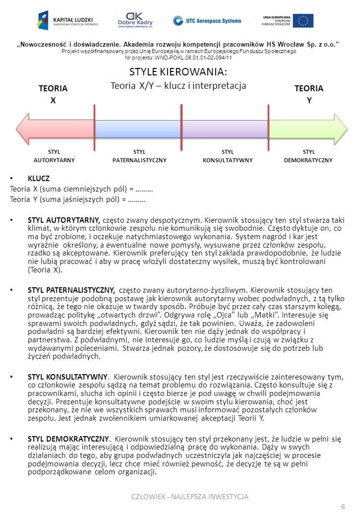 STYLE KIEROWANIA: Teoria X/Y – klucz i interpretacja KLUCZ Teoria X (suma ciemniejszych pól) = ……… Teoria Y (suma jaśniejszych pól) = ……… STYL AUTORYT