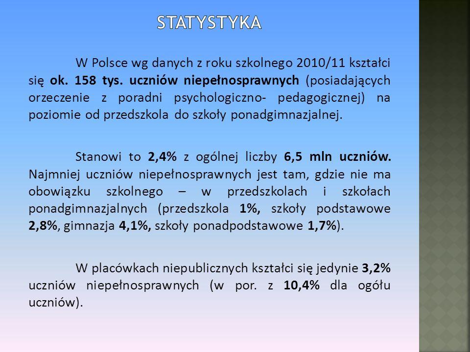 W Polsce wg danych z roku szkolnego 2010/11 kształci się ok. 158 tys. uczniów niepełnosprawnych (posiadających orzeczenie z poradni psychologiczno- pe