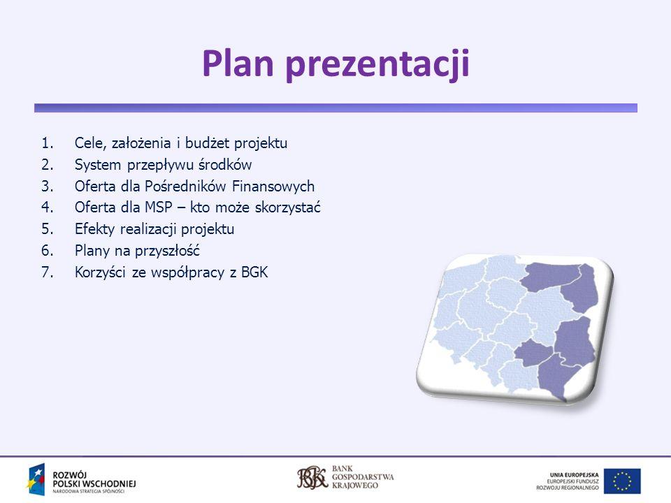 3 Cel projektu 3 Stworzenie korzystnych warunków dla rozwoju przedsiębiorczości w Polsce Wschodniej, poprzez: Poprawę dostępności mikro, małych i średnich przedsiębiorstw do zewnętrznych źródeł finansowania Odejście od dotacyjnego wsparcia instytucji finansowych na rzecz mechanizmu odnawialnego (rewolwingowego) Zastosowanie pozadotacyjnych, zwrotnych instrumentów wsparcia MSP środkami unijnymi, skutkującego efektem mnożnikowym udzielanego wsparcia