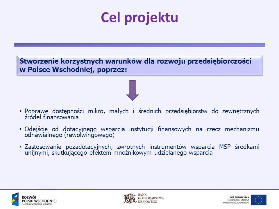 4 Założenia i budżet projektu Wzmocnienie istniejącego w Polsce Wschodniej systemu pożyczkowego oraz systemu poręczeń kredytowych z wykorzystaniem wyspecjalizowanych instrumentów inżynierii finansowej.